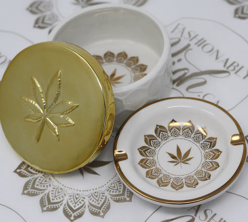 Fashionably High Signature Stashtray Set: Stash Box & Ashtray GOLD