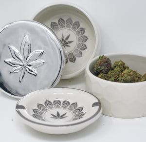 Fashionably High LUNA Limited Edition Stash Box & Ashtray SILVER Set