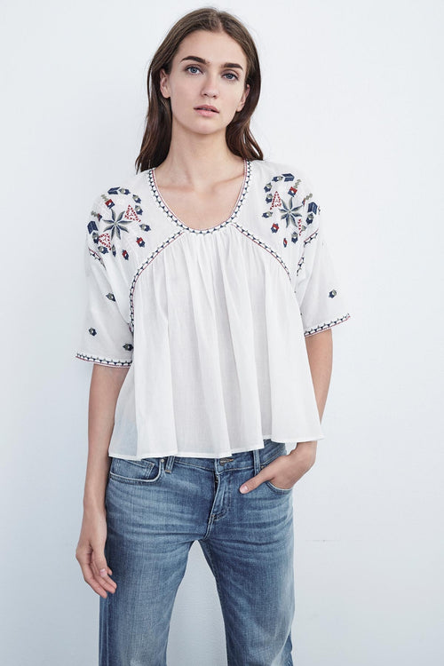 ADELE EMBROIDERED CRINKLE COTTON RAGLAN TOP
