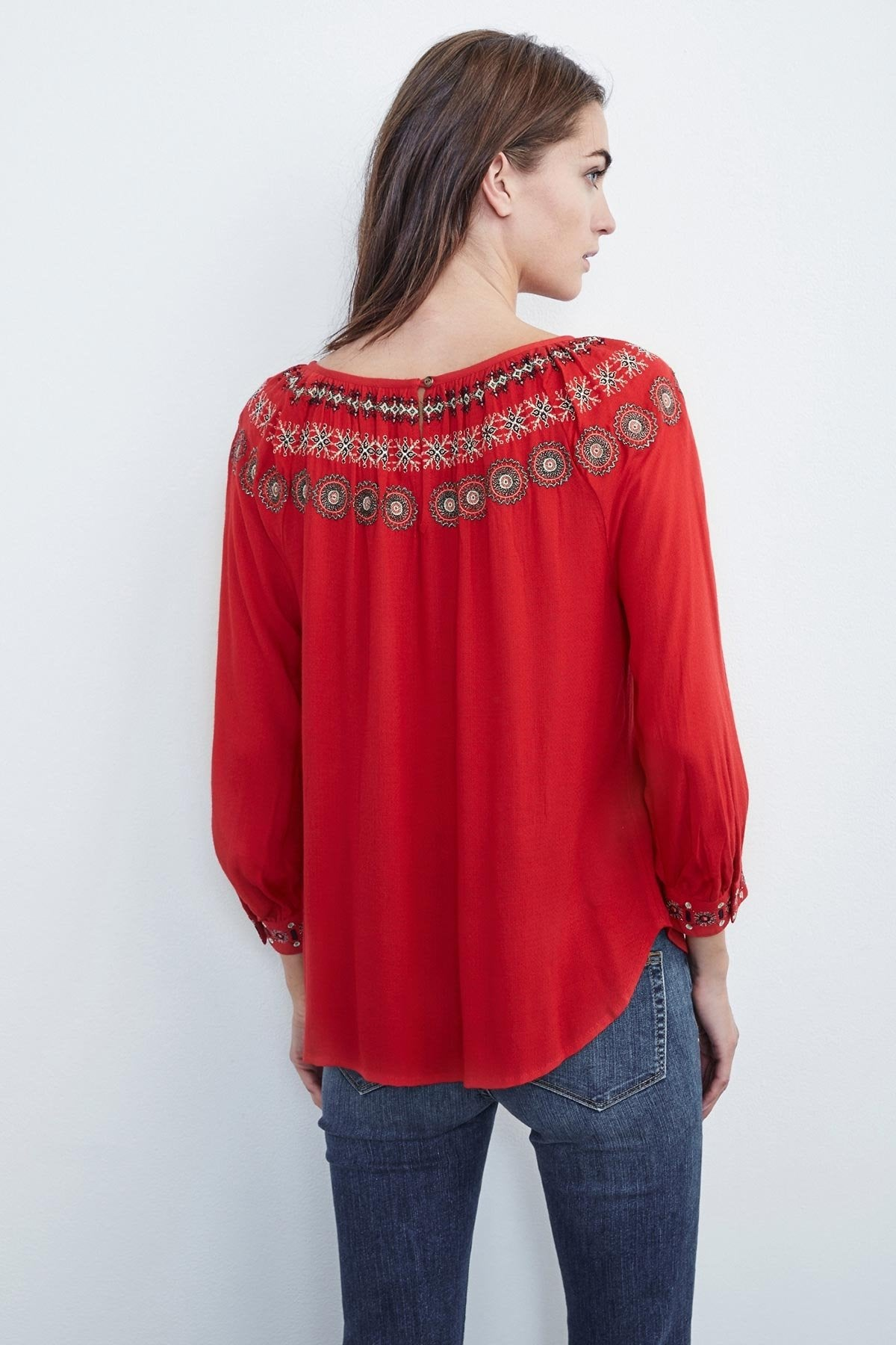 EVA EMBROIDERED PEASANT TOP