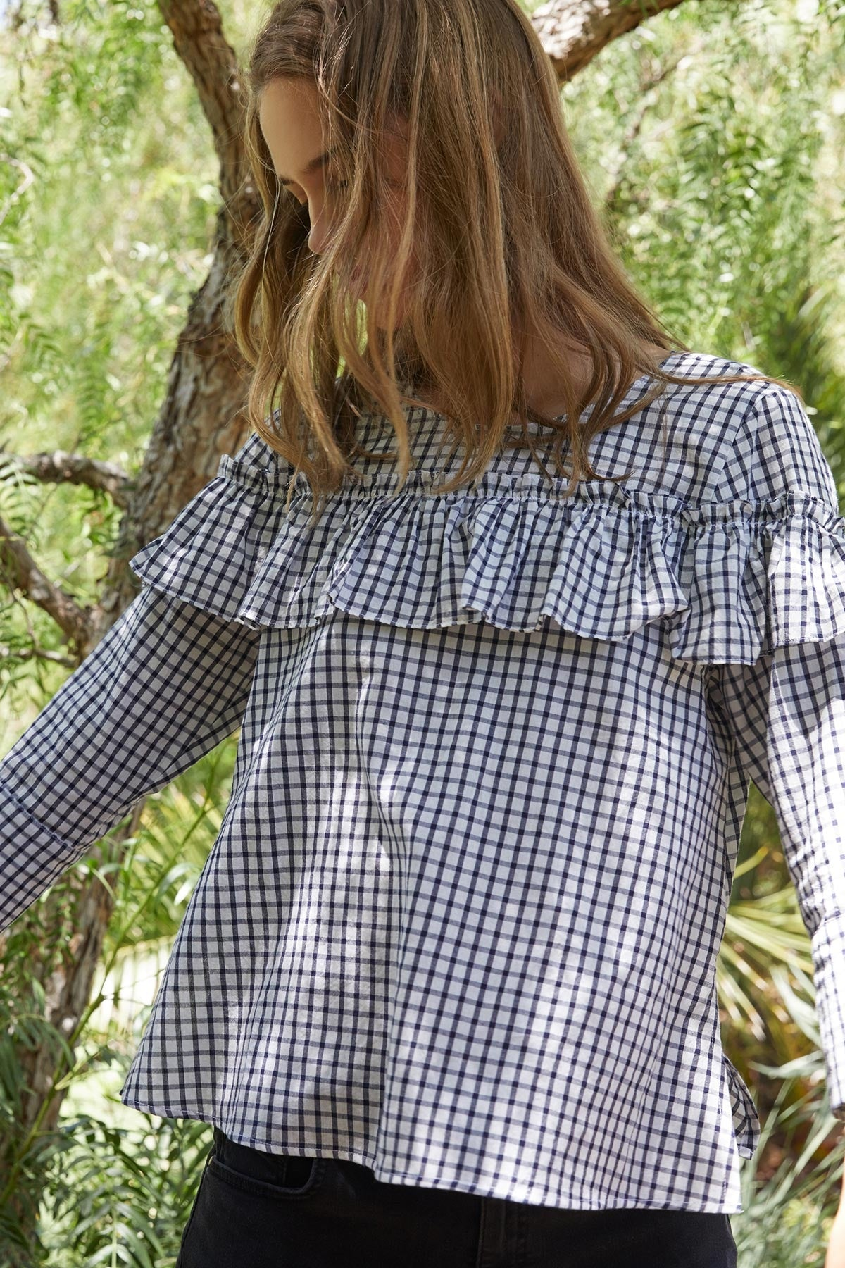 MELODY COTTON CHECK 3/4 SLEEVE RUFFLE TOP