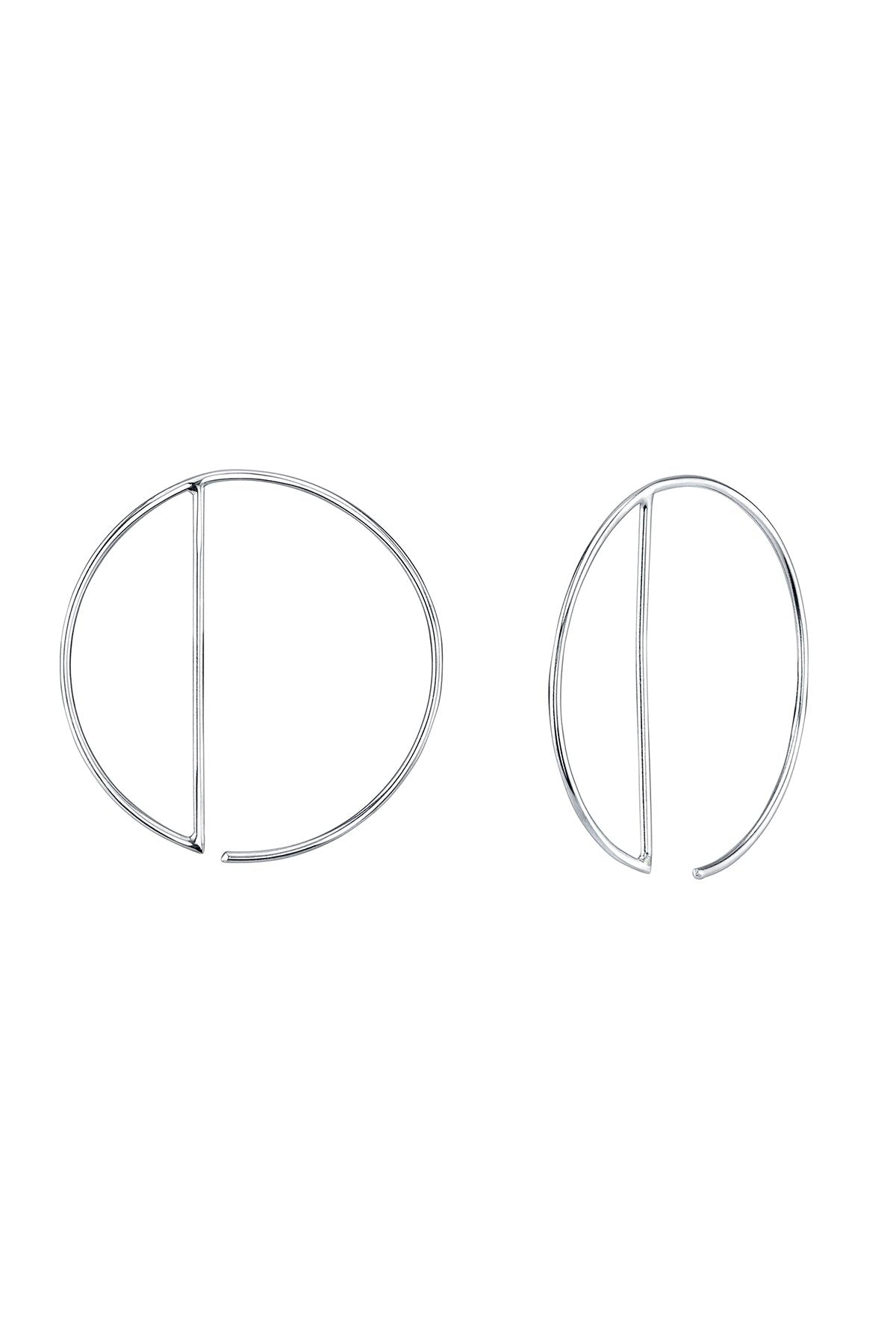 OPEN CRESCENT HOOPS IN SILVER BY SLOAN