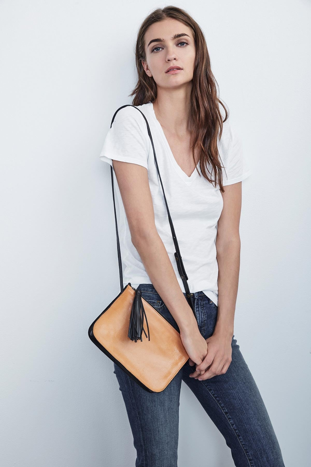 JOURNEY TWO-TONE LEATHER CROSSBODY BAG