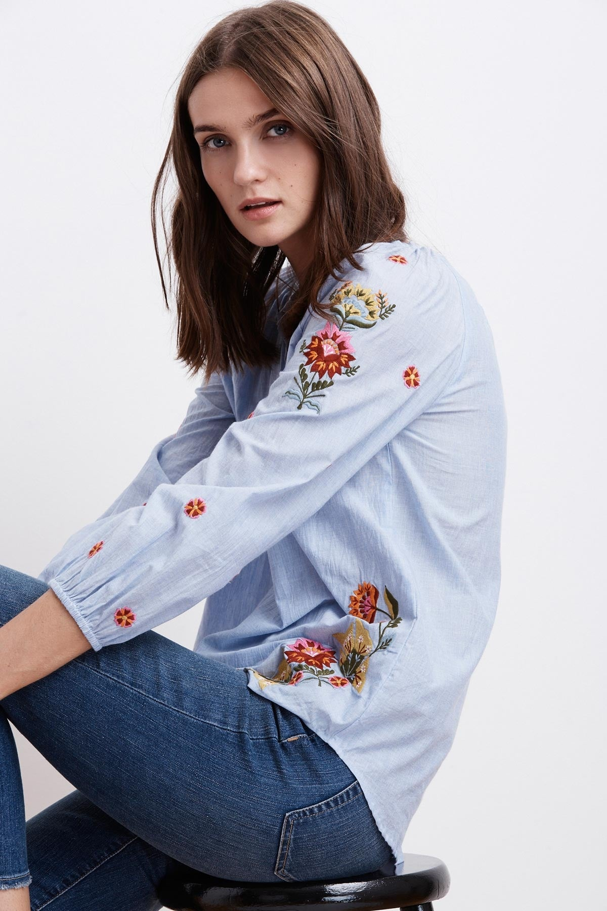 ARABELLE KALI EMBROIDERED CHAMBRAY TOP