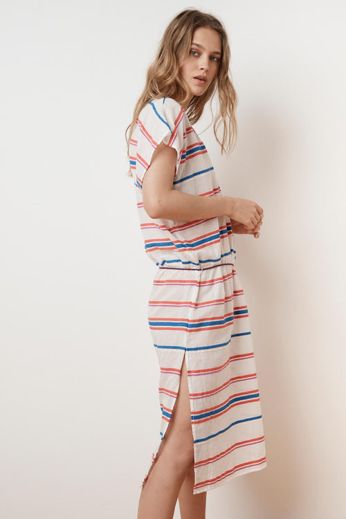 ZANETTA STRIPE EMBROIDERED KAFTAN
