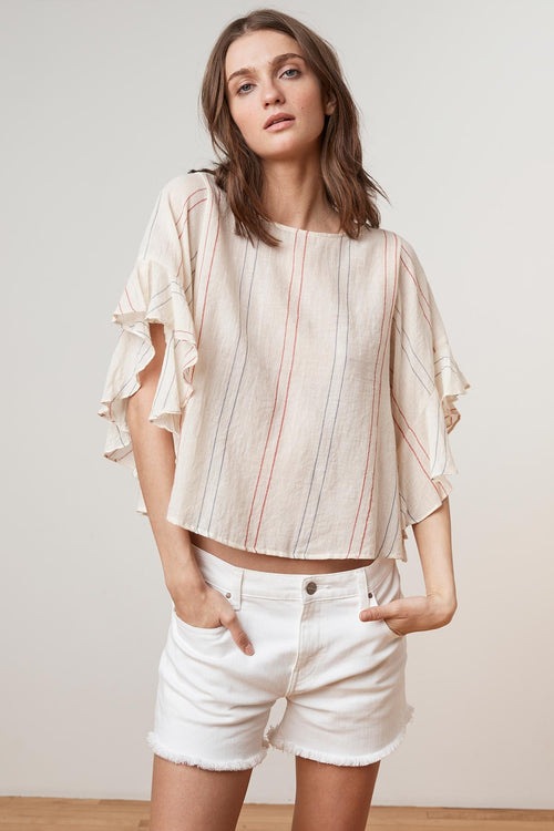 LIJA CALICO STRIPE DRAPE RUFFLE SLEEVE TOP