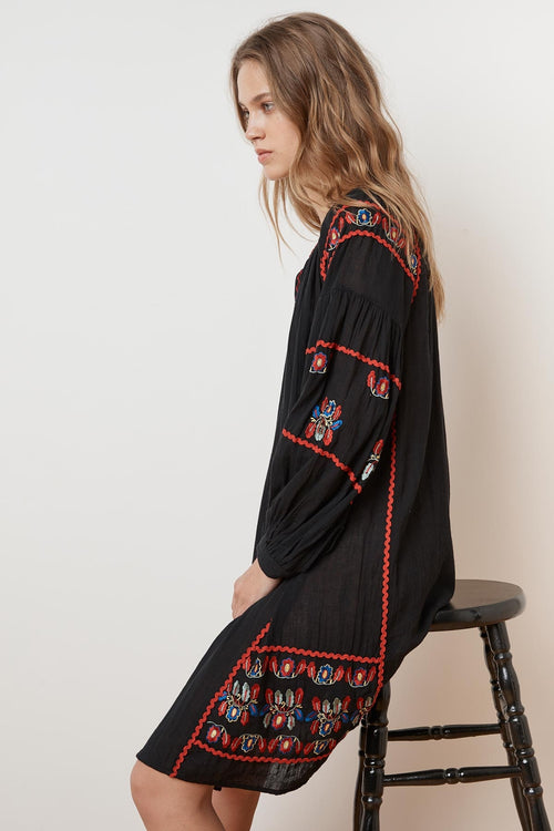 LOANE EMBROIDERED COTTON PEASANT DRESS