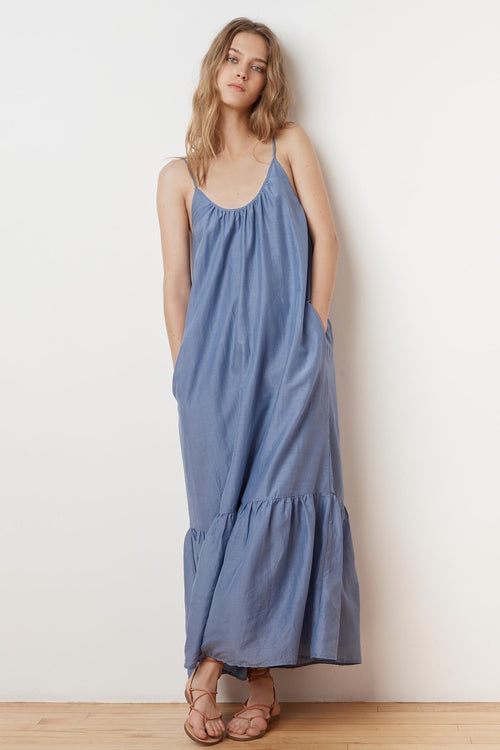 ABARA SILK COTTON VOILE MAXI DRESS