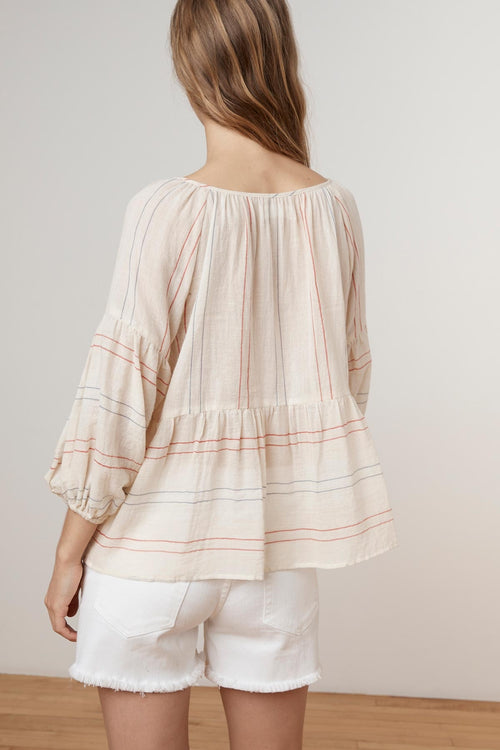 MELODIA CALICO STRIPE LACE UP BLOUSE