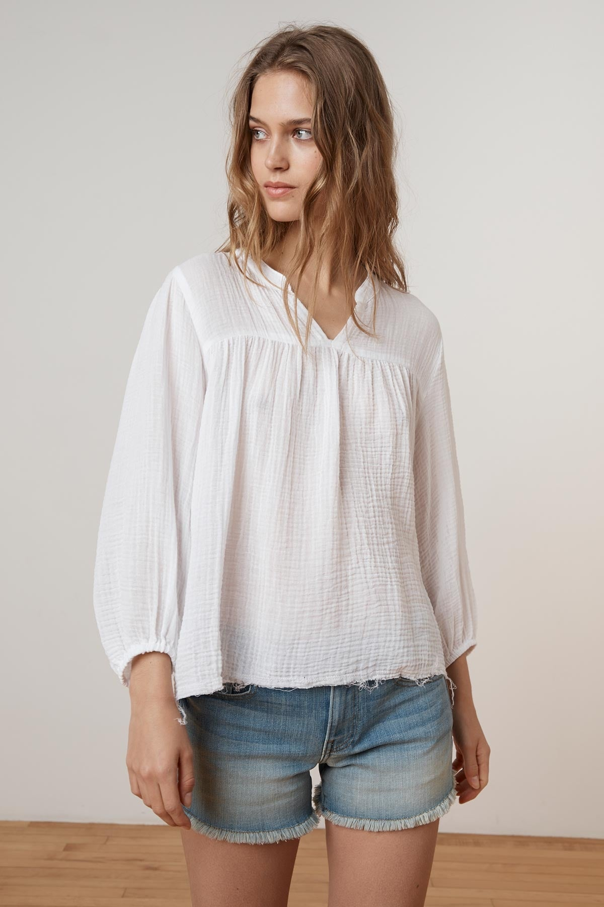 MIFFY SOFT COTTON GAUZE PEASANT TOP