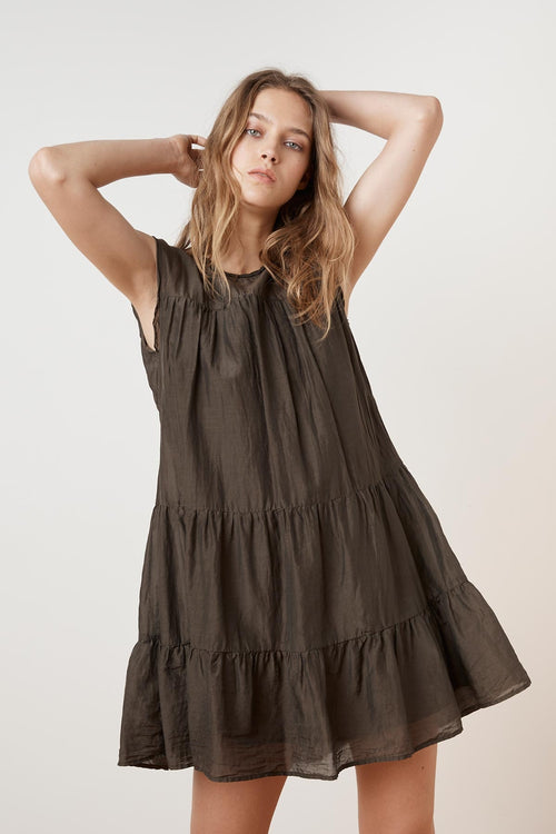 SHANELLE SILK COTTON VOILE RUFFLE TIERED DRESS