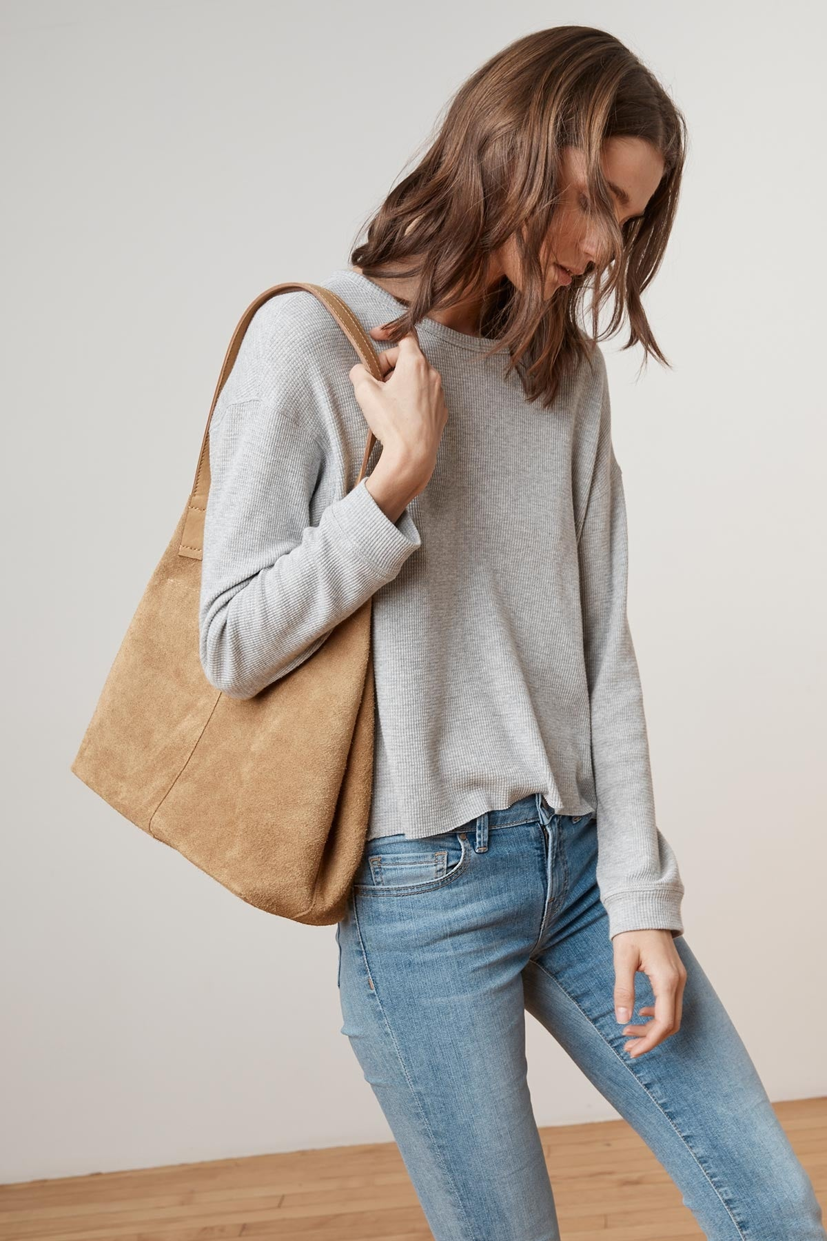 TRICIA SUEDE LEATHER TIE TOTE