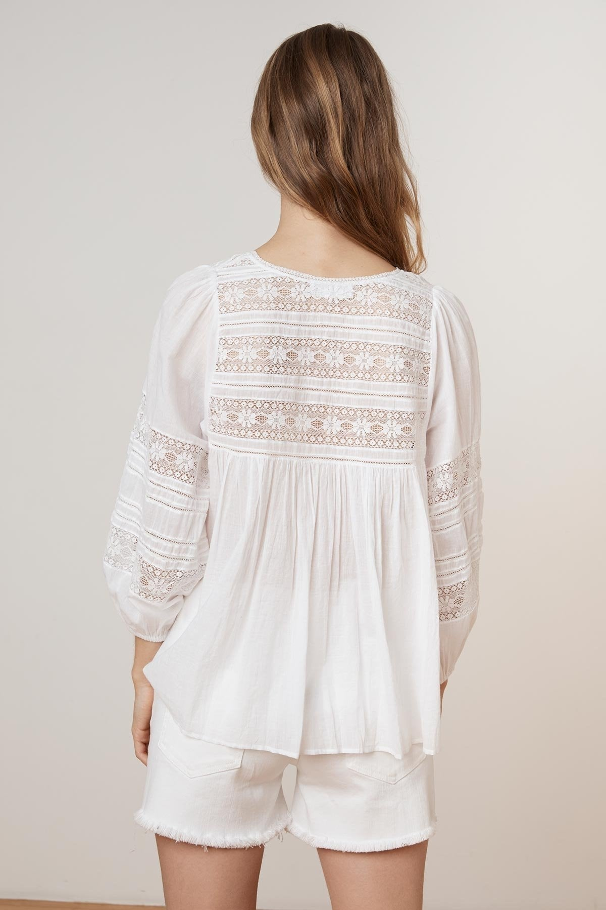 EVIE COTTON LACE PEASANT TOP
