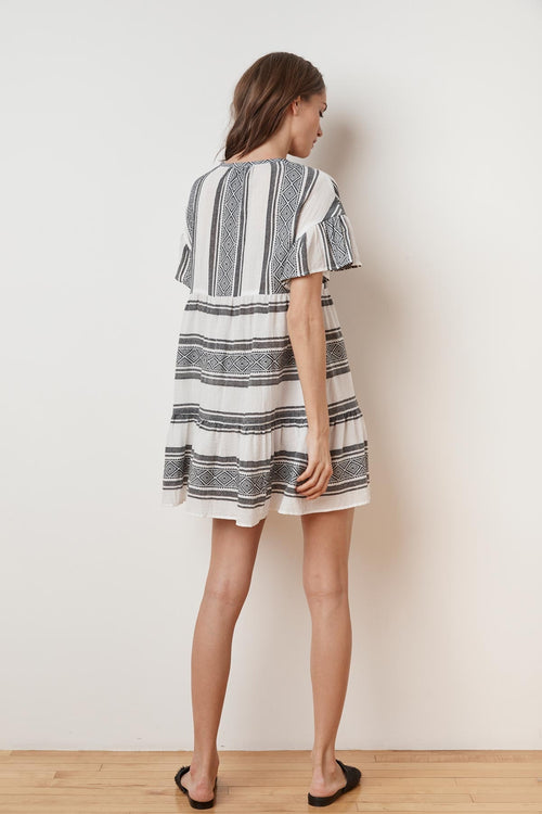 JANAYE ISLAND JACQUARD OVERSIZED RUFFLE DRESS