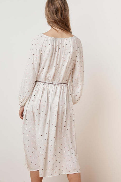 ISILDA FLORAL EMBROIDERED BELTED DRESS