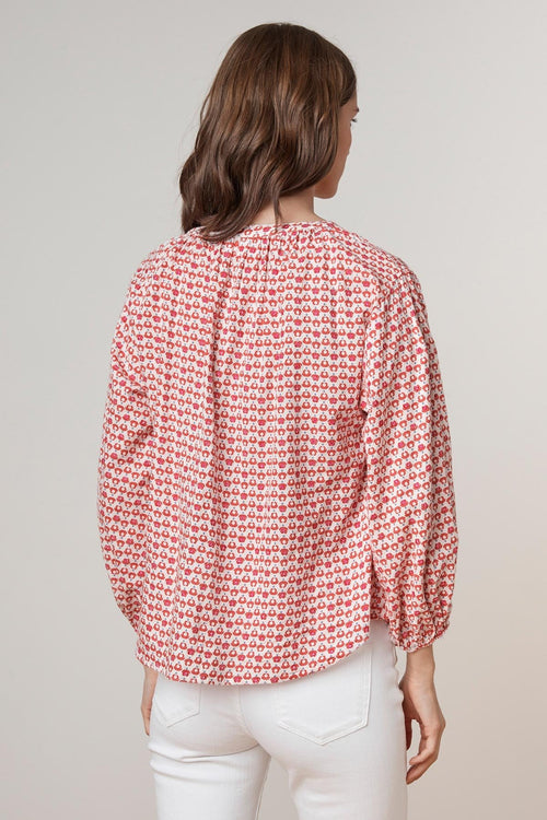 OPRAH PRINTED COTTON BUTTON UP TOP
