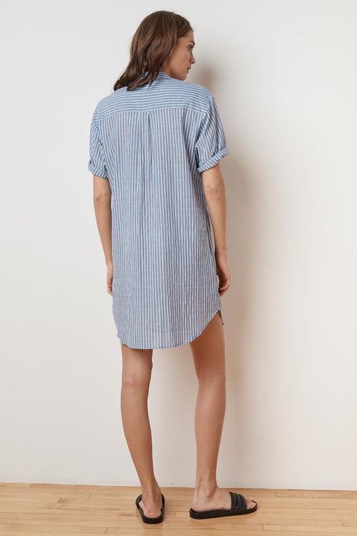 BAYLA PINSTRIPE SHORT SLEEVE SHIRT DRESS