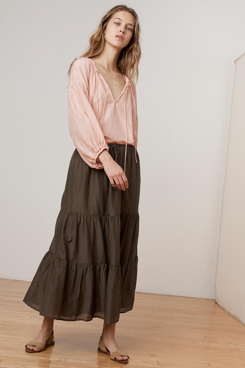 PAYTON SILK COTTON VOILE TIERED SKIRT