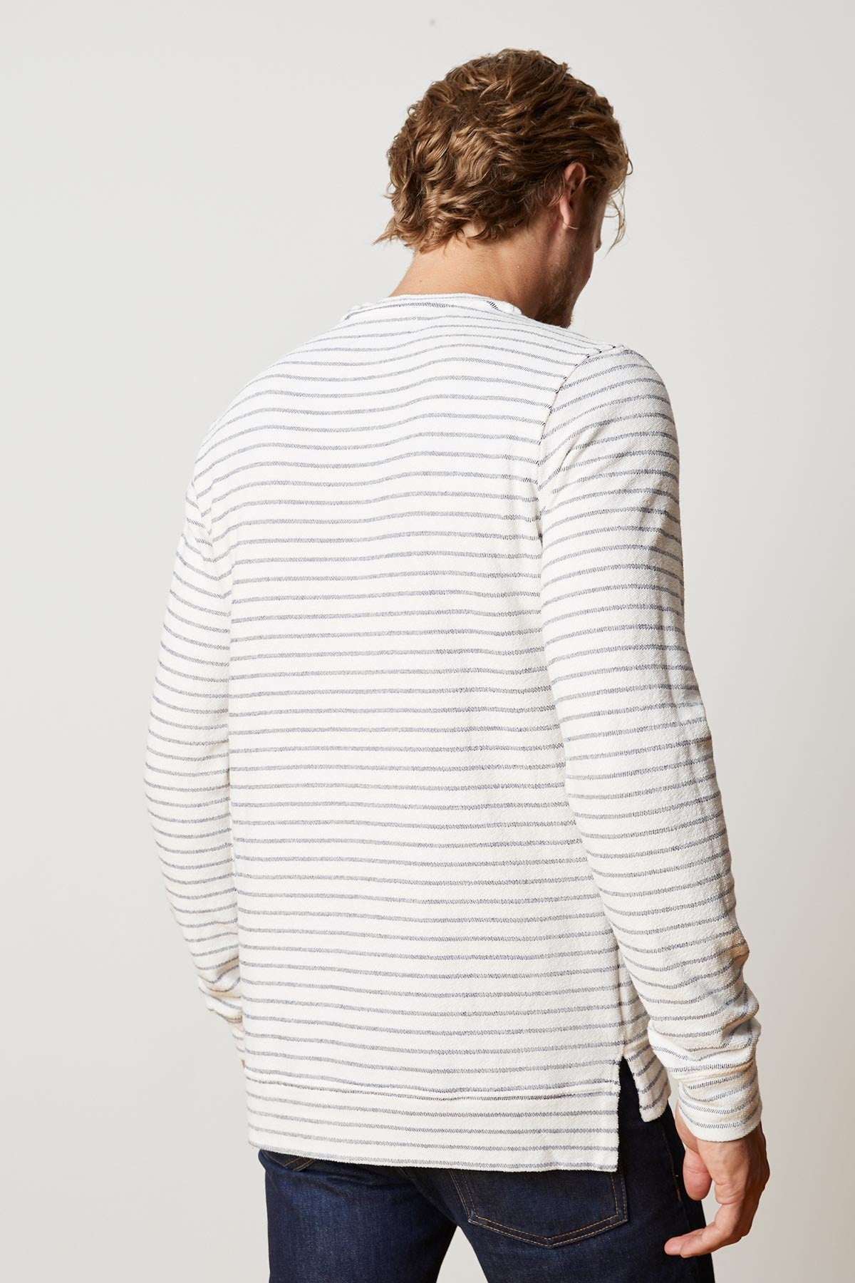 ARGO STRIPE TERRY CREW NECK SWEATSHIRT