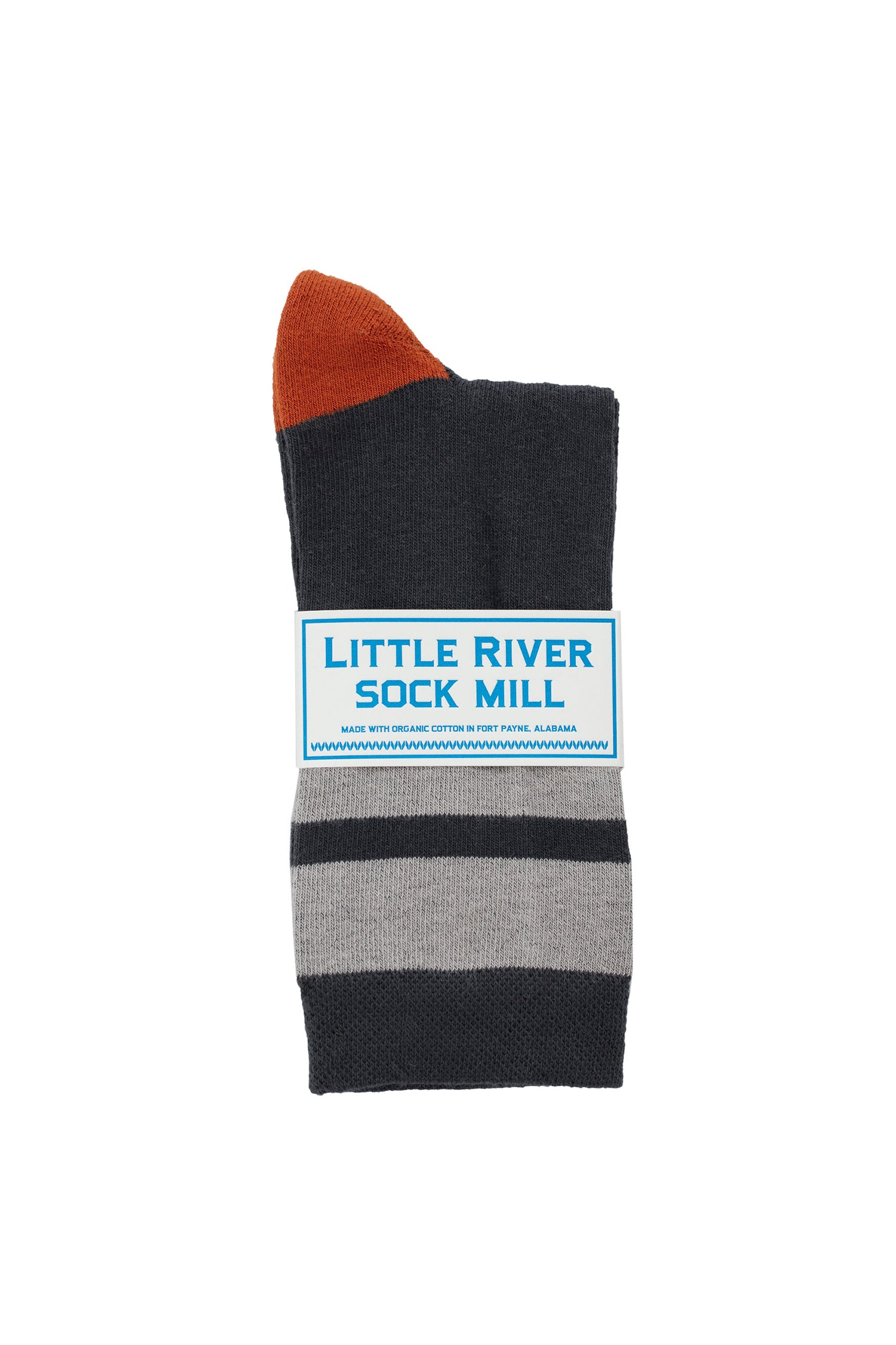 CUSHIONED STRIPED CREW SOCK BY LITTLE RIVER SOCK MILL