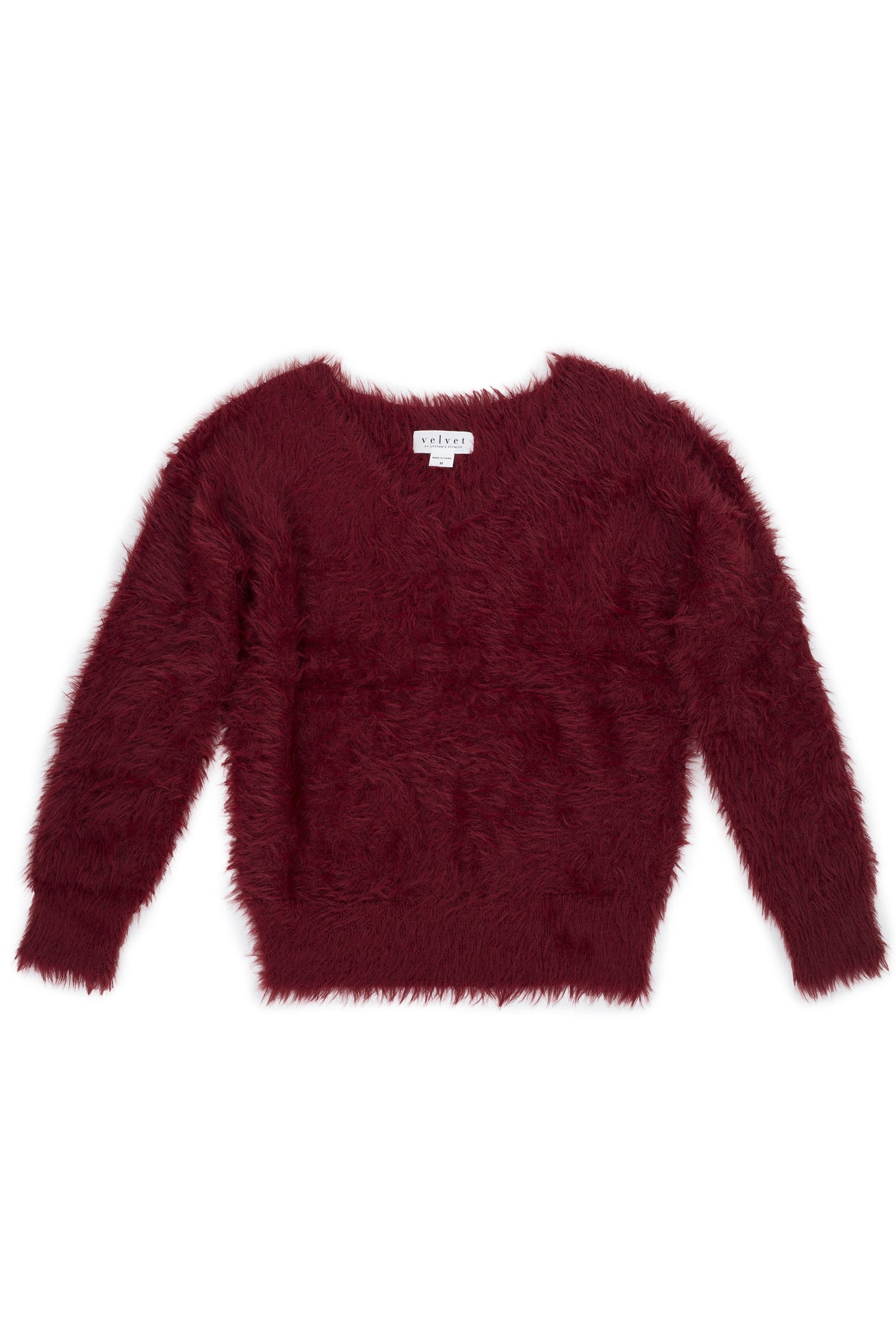 RILEY FEATHERED YARN V-NECK SWEATER