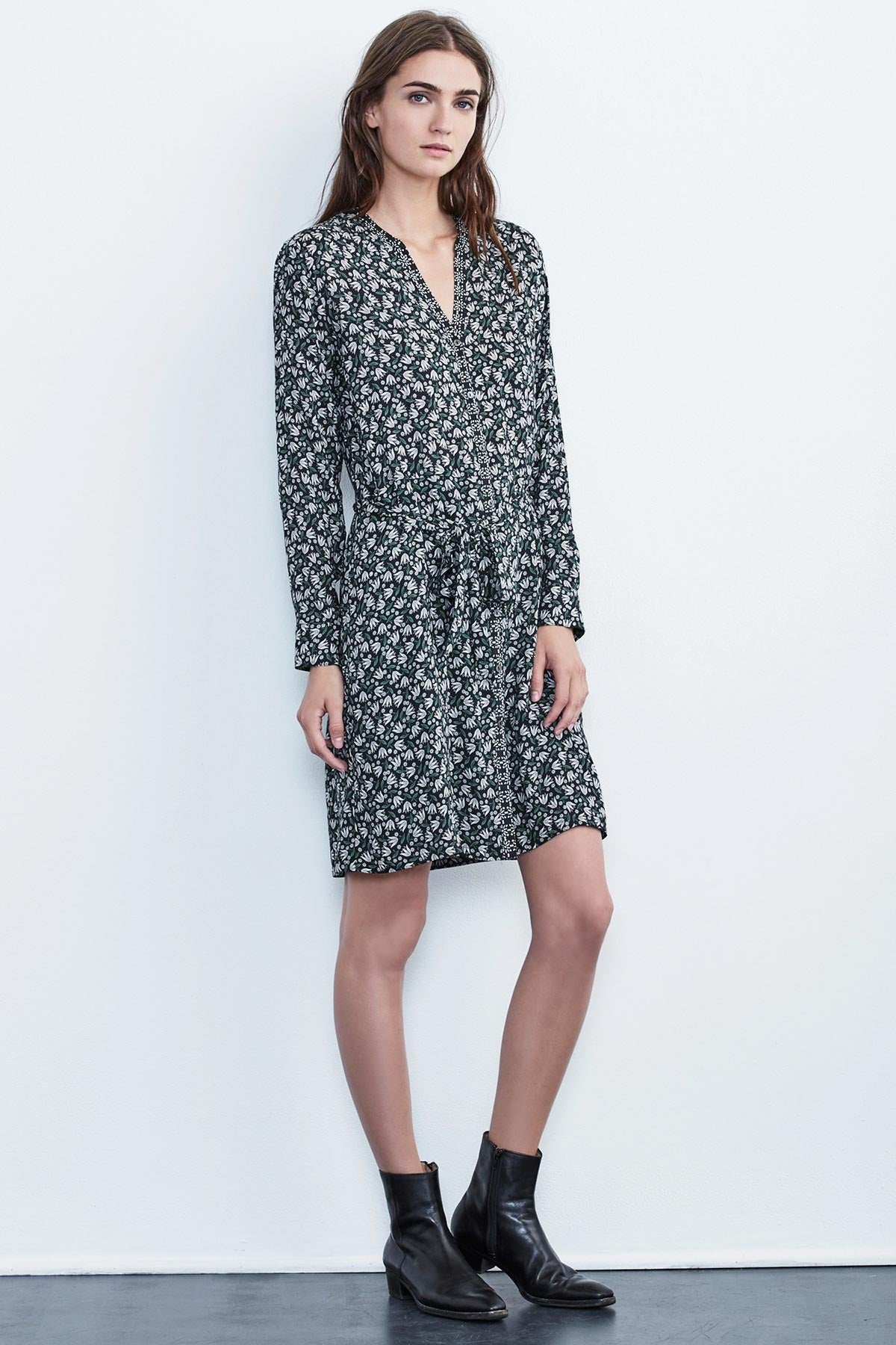 MARIYAH FLORAL PRINT MIX CHALLIS SHIRT DRESS