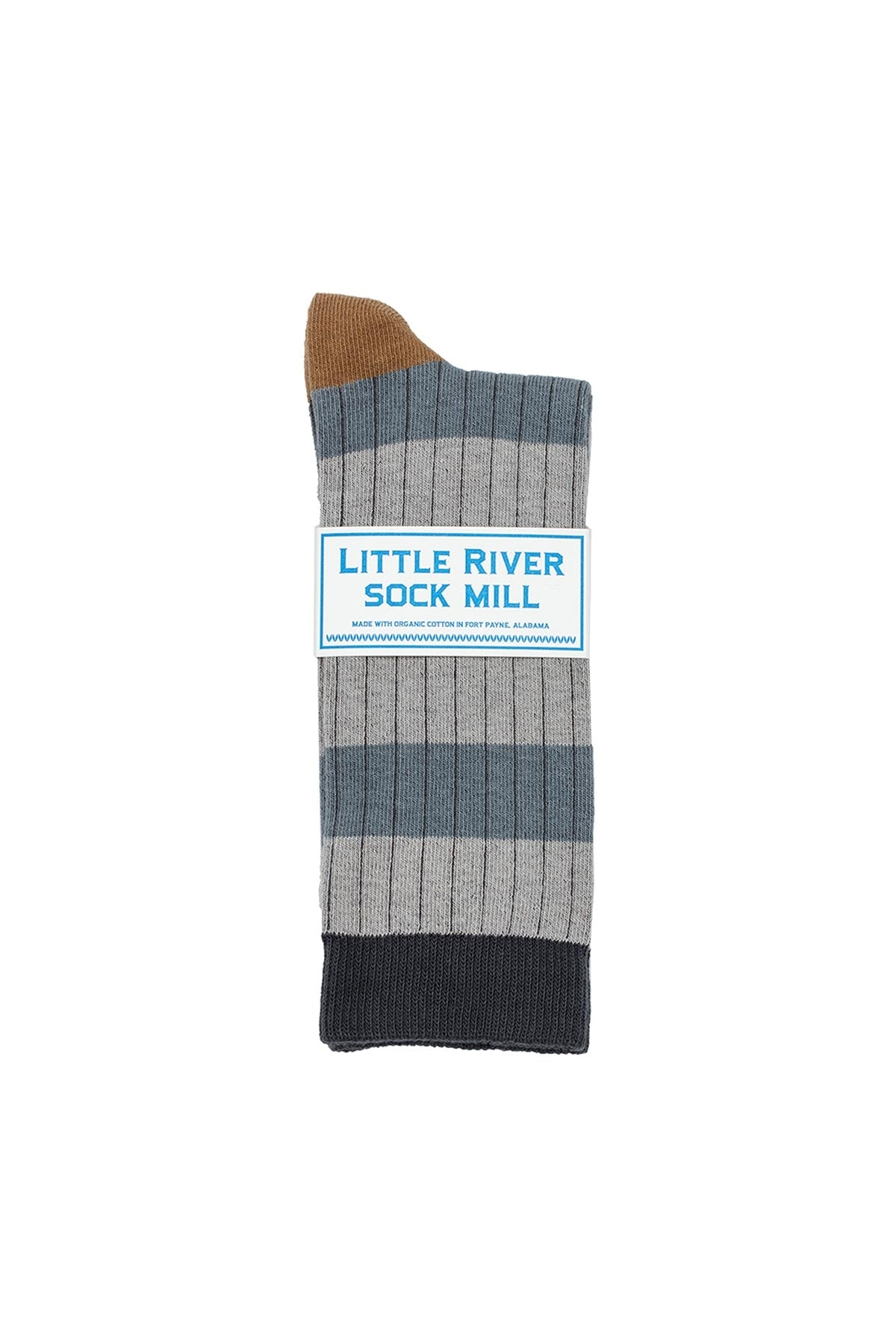 STRIPED RIB CREW SOCK BY LITTLE RIVER SOCK MILL