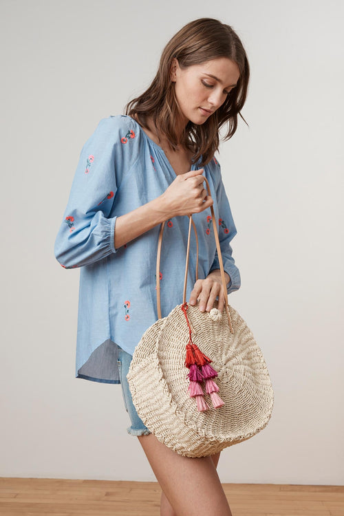 ESTELLA ROUND STRAW TOTE TASSEL BAG