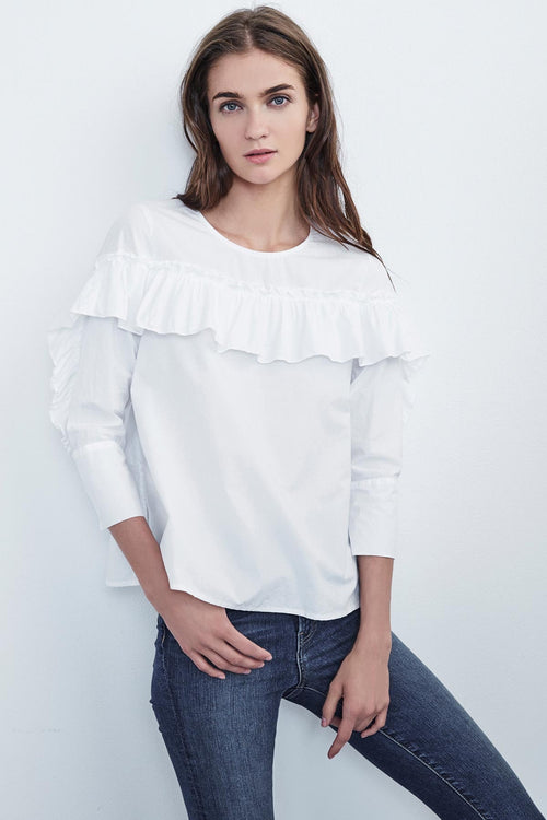 ALUNA COTTON POPLIN 3/4 SLEEVE RUFFLE TOP