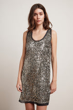 CARMELA ANTIQUE SEQUIN SLEEVELESS DRESS