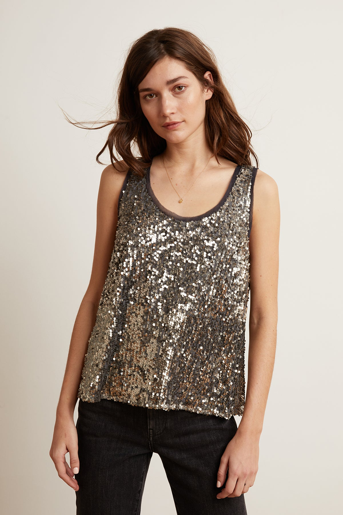LEYLA ANTIQUE SEQUINS SLEEVELESS TOP