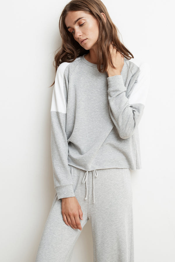 BRYN HEATHER GREY LUXE FLEECE COLORBLOCK PULLOVER