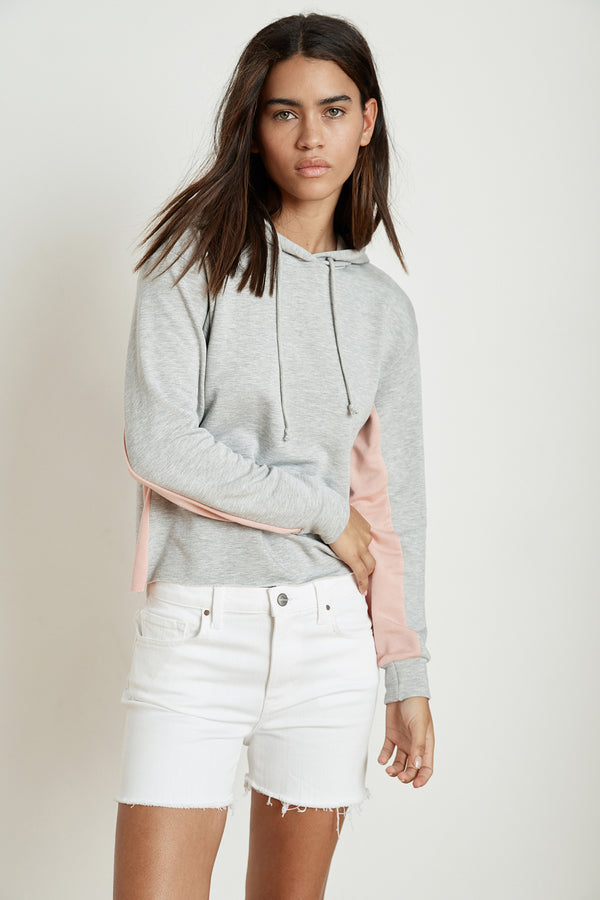 KARTER HEATHER GREY LUXE FLEECE CROPPED HOODIE