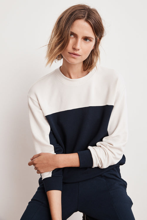 STELLA COLOR BLOCK LUXE FLEECE PULLOVER