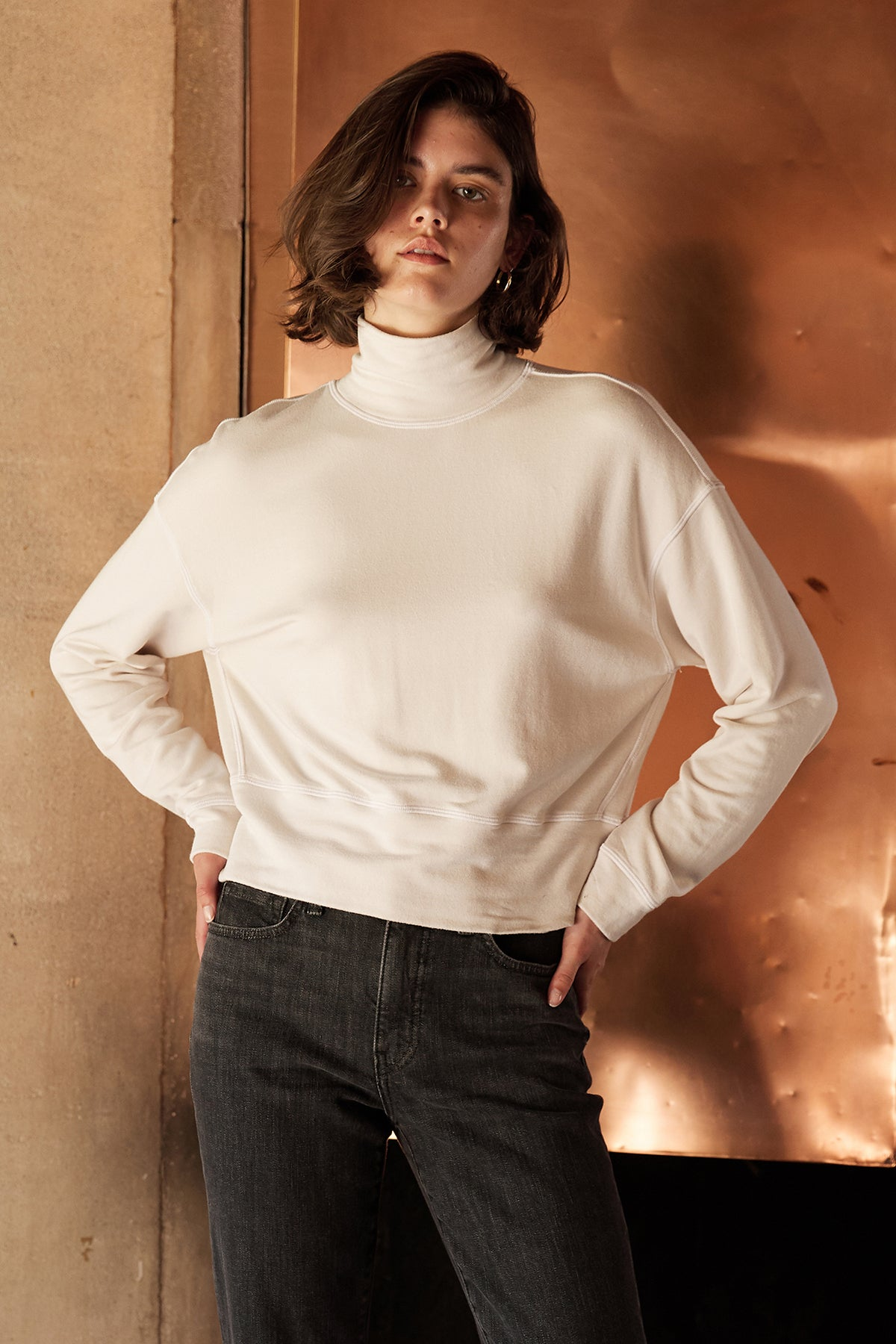 PRESLY LUXE FLEECE TURTLENECK PULLOVER