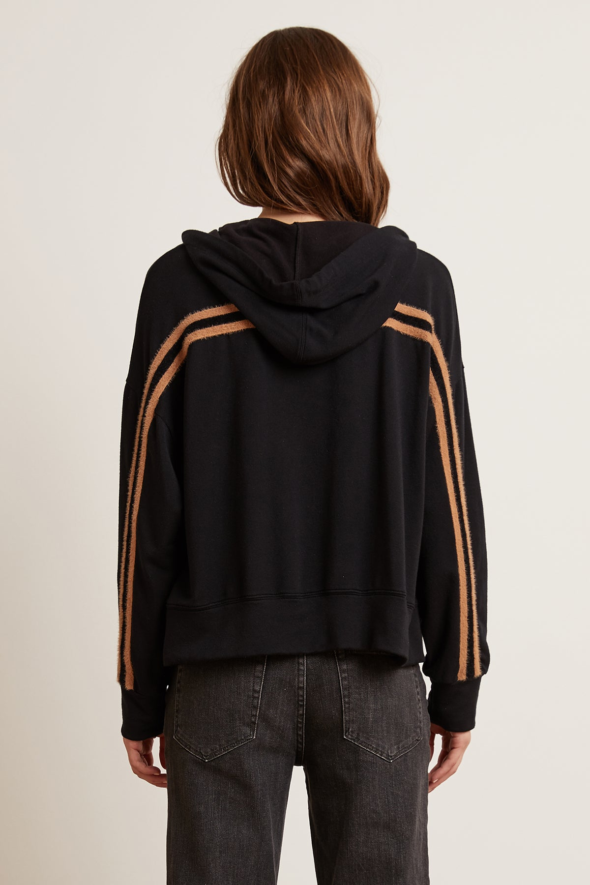REMY LUXE FLEECE FEATHERED STRIPE HOODIE
