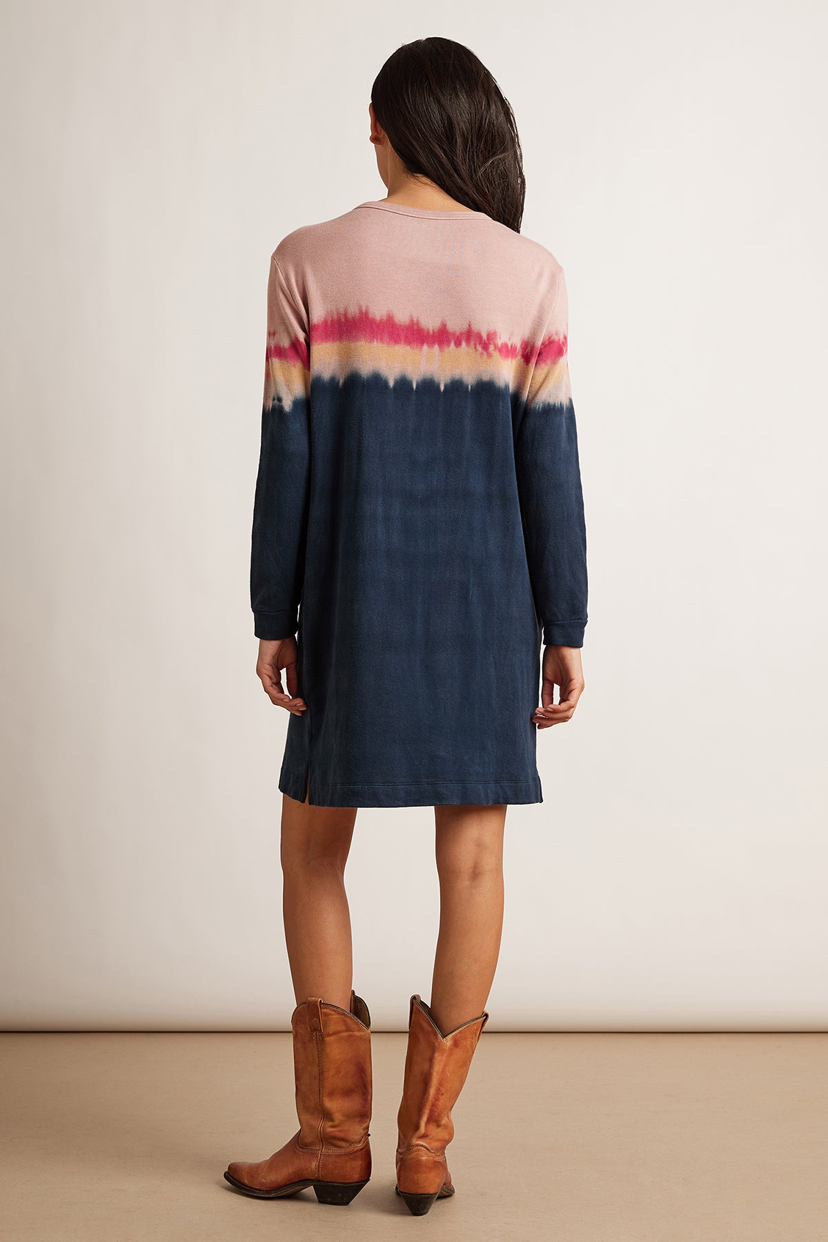 PRICILLA LUXE FLEECE TIE DYE SWEATSHIRT DRESS