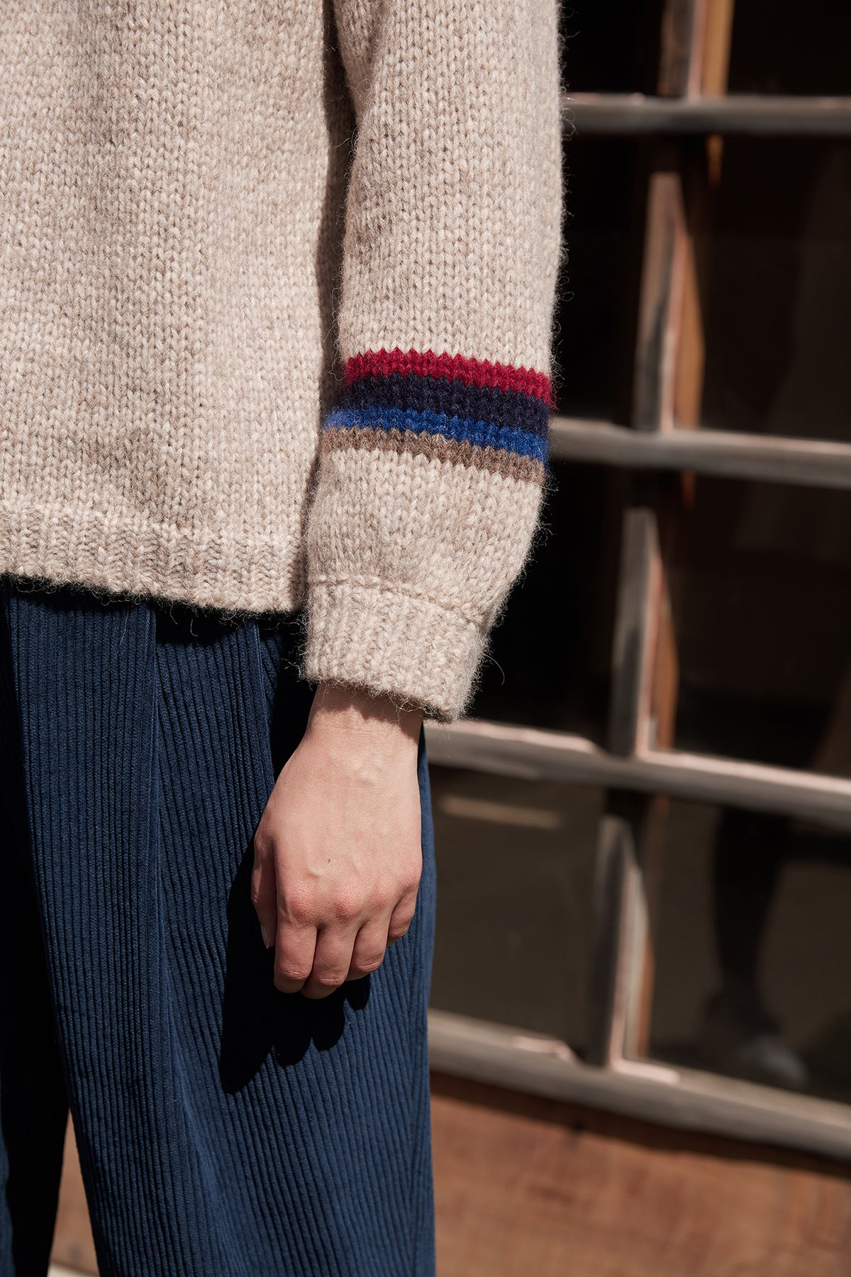 ADDIE STRIPE BABY ALPACA PUFF SLEEVE SWEATER