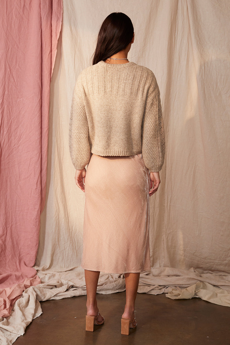 TAELYN SILK VELVET SKIRT