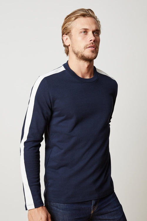 GARSON STRIPE RIVIERA TERRY CREW NECK SWEATSHIRT