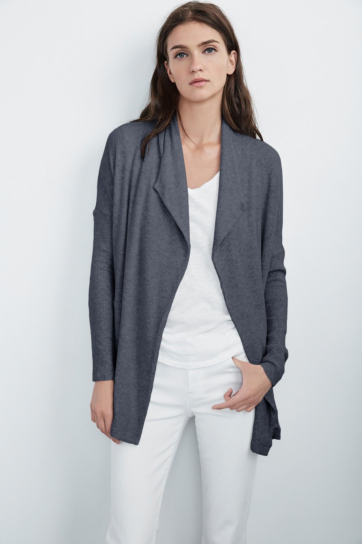 AVA COZY JERSEY RIBBED CARDIGAN