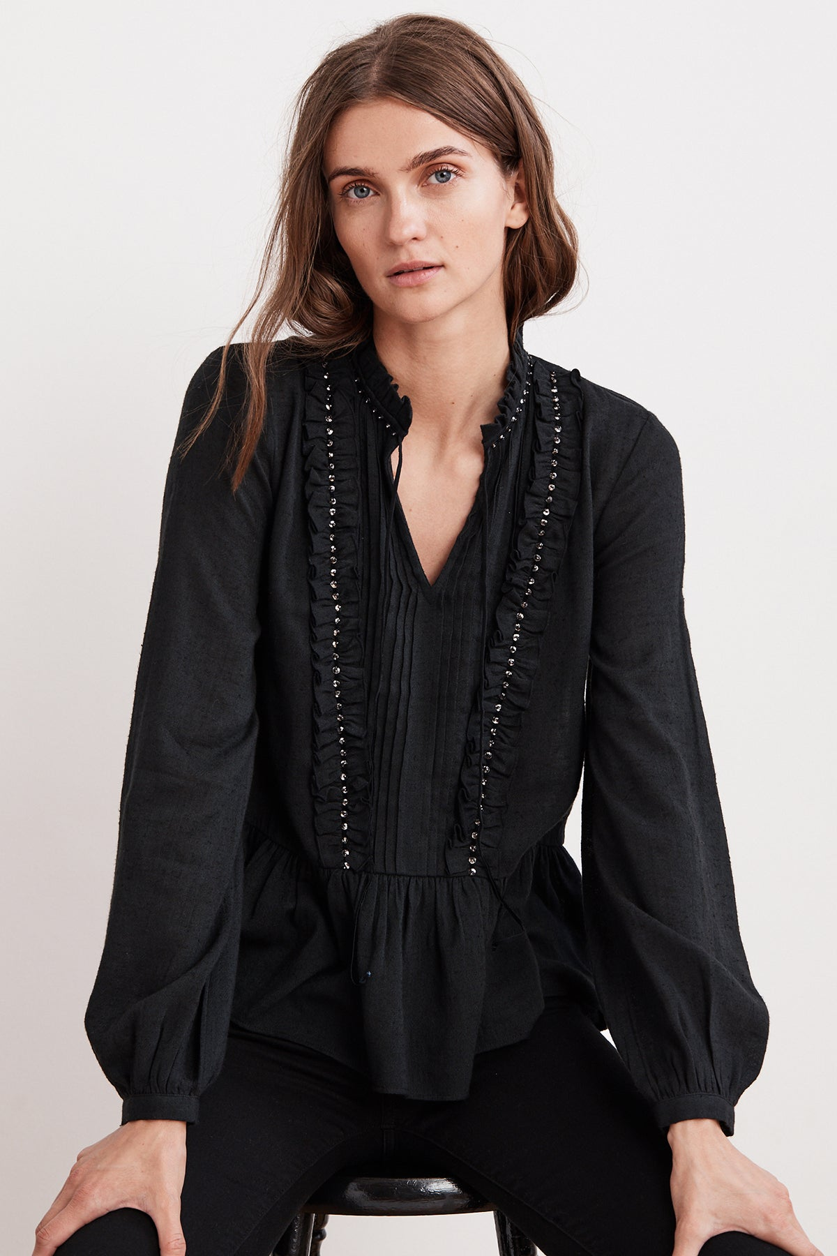 PEPPER BEADED RUFFLE BLOUSE