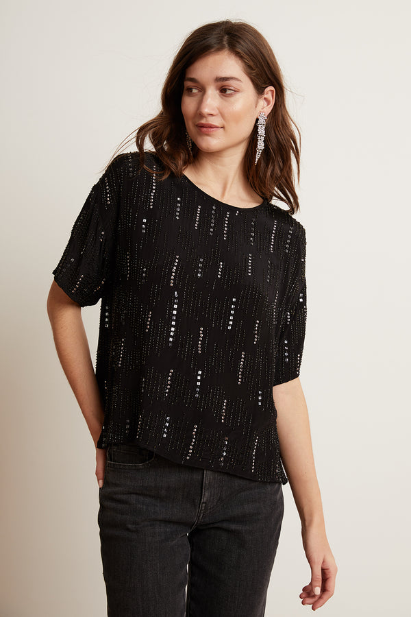 JONELLE BEADED VISCOSE SHORT SLEEVE TOP