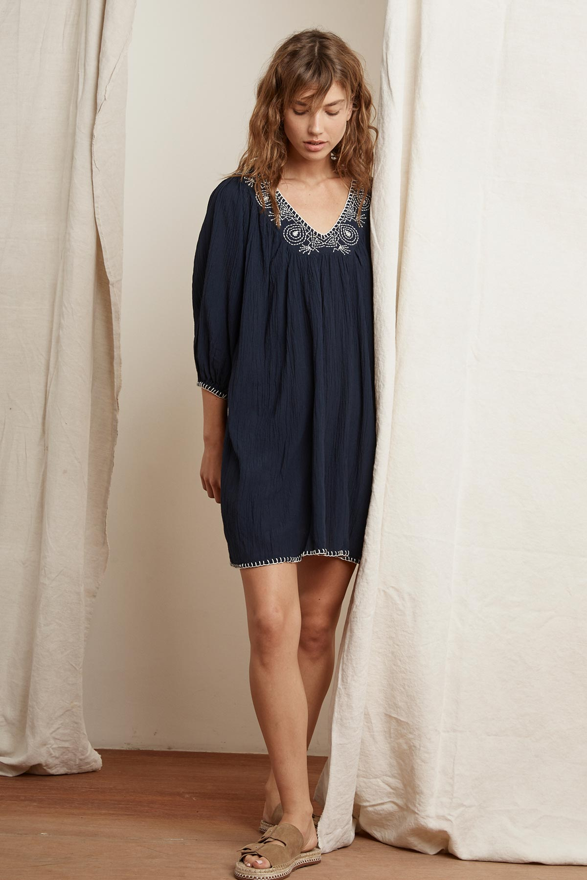 TRISTA BLANKET STITCH PEASANT DRESS