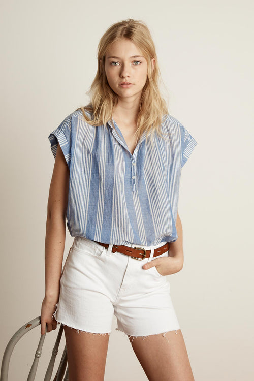 EILEEN COTTON STRIPE HALF-PLACKET SHIRT
