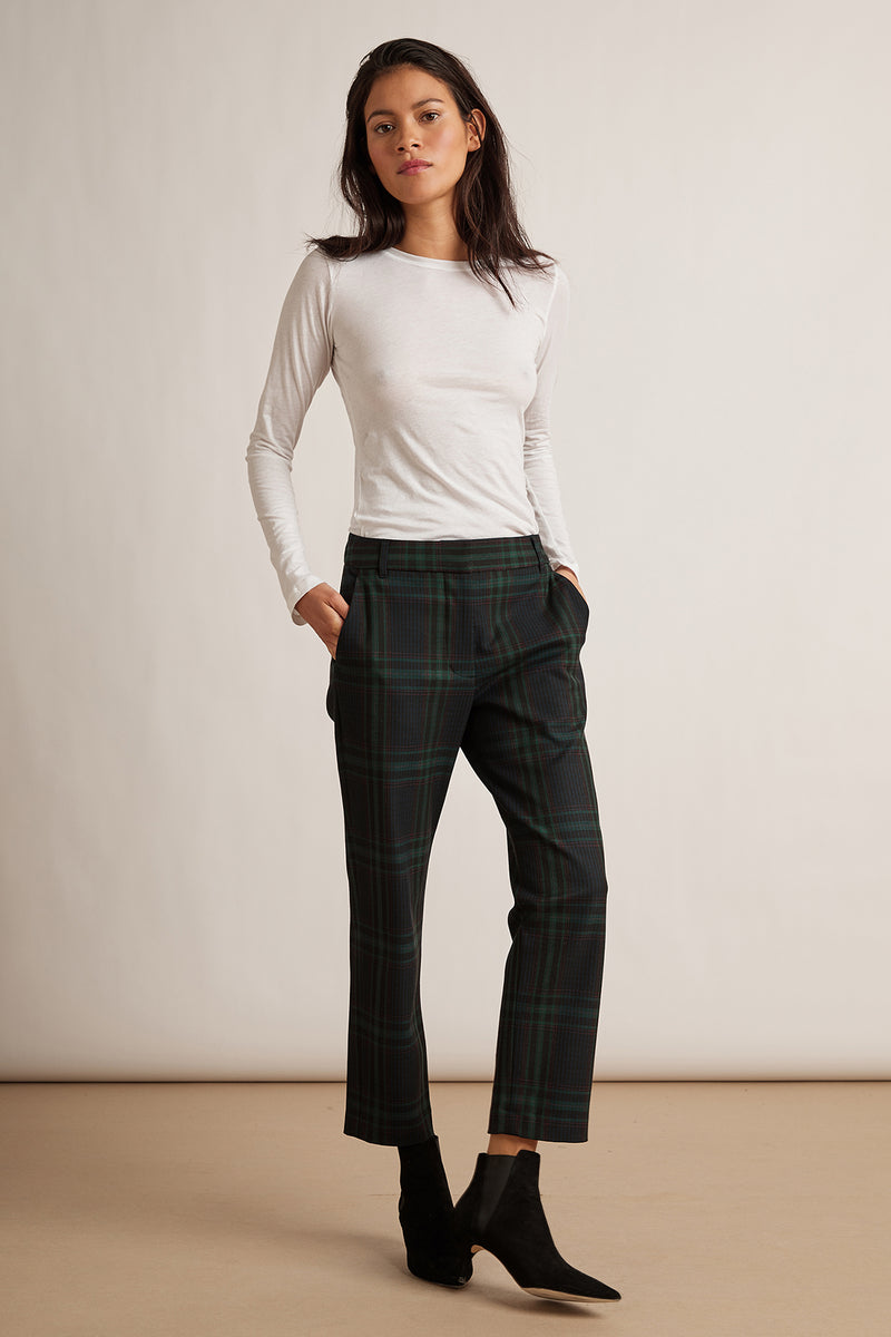 JACKIE STRETCH PLAID STRAIGHT LEG PANT