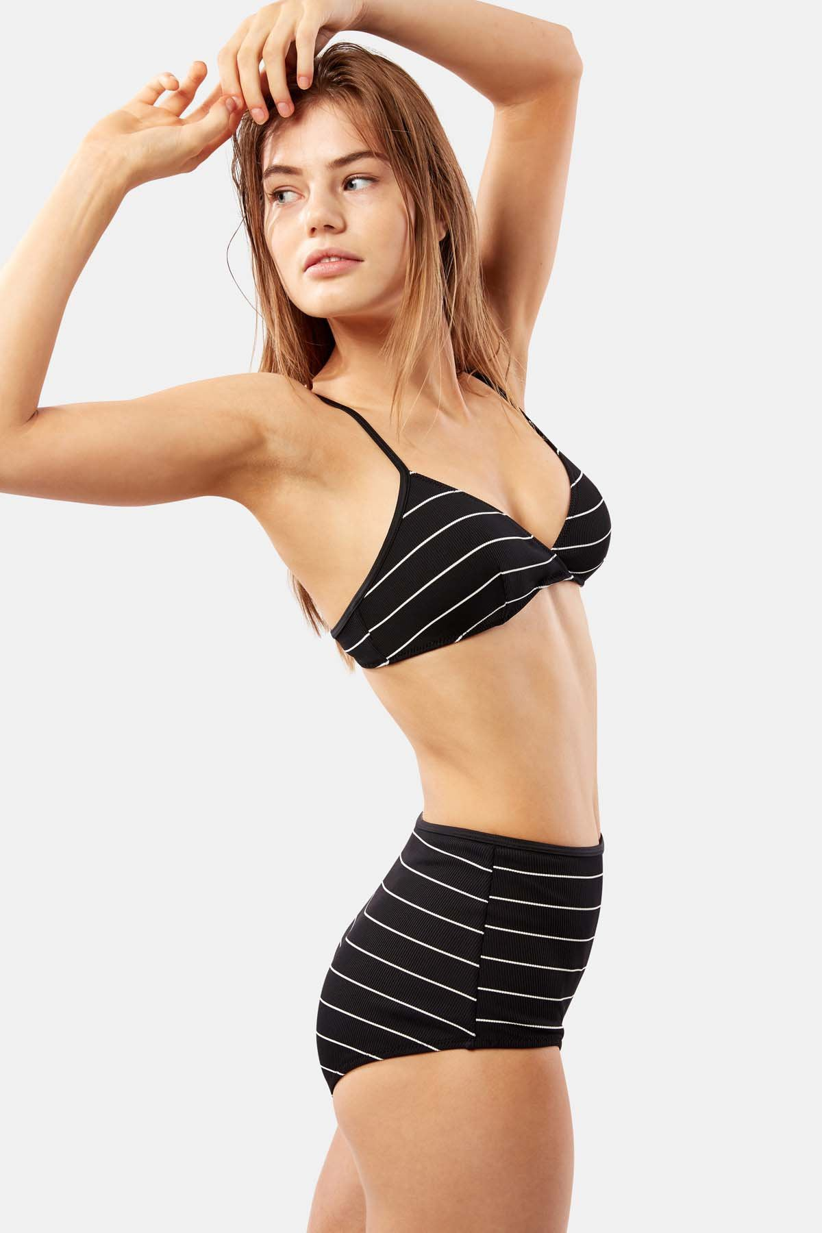 BRIGITTE PINSTRIPE RIBBED SWIM BOTTOM BY SOLID AND STRIPED