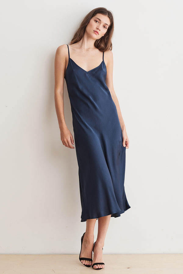 BRIENNE SATIN VISCOSE CAMI DRESS