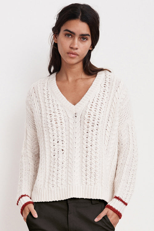 BOE SHEER CABLE KNIT SWEATER