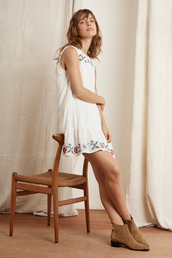 COLINA COTTON EMBROIDERED SLEEVELESS DRESS